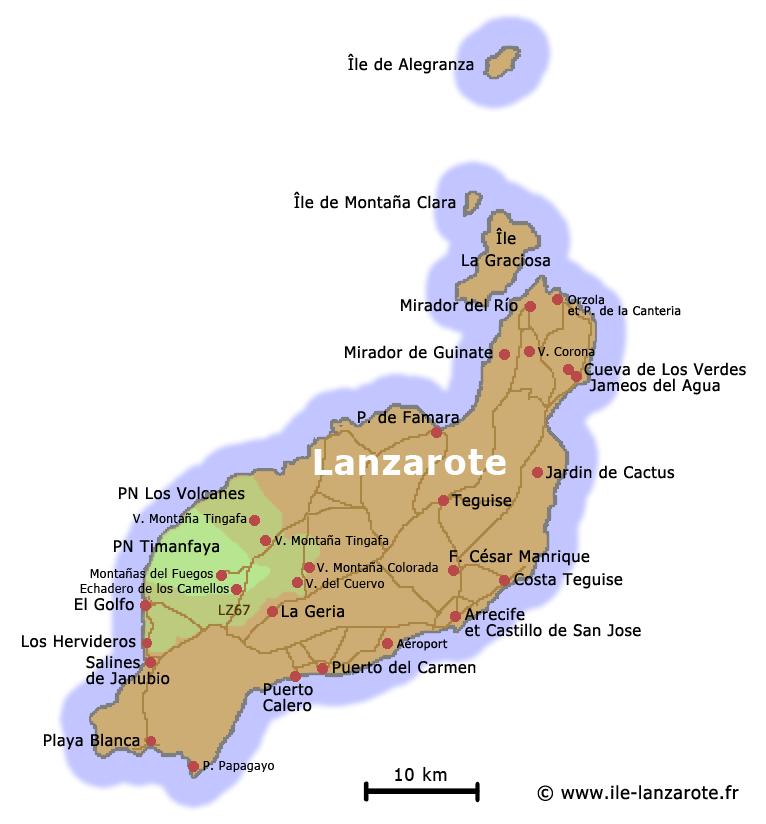 Carte Espagne Fuerteventura.Ile Lanzarote Canaries Espagne